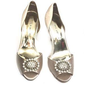 Audrey Brooke Champagne Embellished Satin Heel 8.5